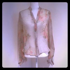 Haute Hippie Floral Silk Blouse NWOT